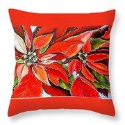 Poinsettias Throw Pillow