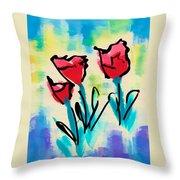 3 Poppies Throw Pillow