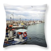Port Of Aegina Throw Pillow