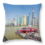 Pudong Skyline In Shanghai China Throw Pillow