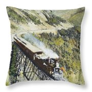Railroad Bridge, C1870 Throw Pillow