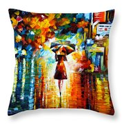 Rain Princess Throw Pillow by Leonid Afremov