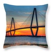 Ravenel Bridge Twilight Twinkle Throw Pillow