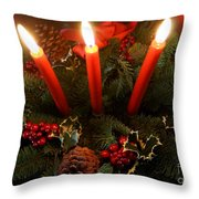 3 Red Candles Throw Pillow
