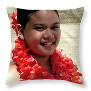 Red Lei Throw Pillow