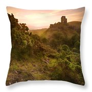Romantic Fantasy Magical Castle Ruins Against Stunning Vibrant S Throw Pillow