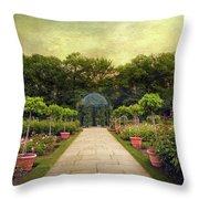 Rose Garden Gazebo Throw Pillow