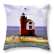 Round Island Lighthouse Straits Of Mackinac Michigan Throw Pillow