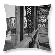Route 66 - Chain Of Rocks Bridge Throw Pillow