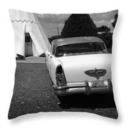 Route 66 Wigwam Motel And Classic Car Throw Pillow