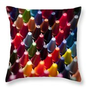 Rows Of Multicolored Crayons  Throw Pillow