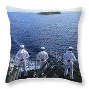 Sailors Man The Rails Aboard Throw Pillow