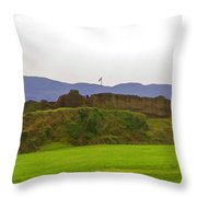 Saltire And The Ruins Of The Urquhart Castle Throw Pillow