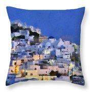 Serifos Town During Dusk Time Throw Pillow