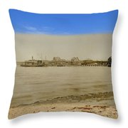 Shaw's Wharf At Sakonnet Point In Little Compton Rhode Island Throw Pillow