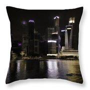 Singapore Skyline As Seen From The Pedestrian Bridge Throw Pillow