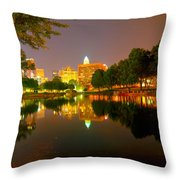 Skyline Of Uptown Charlotte North Carolina At Night Throw Pillow