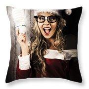 Smart Female Santa Claus With Christmas Idea Throw Pillow