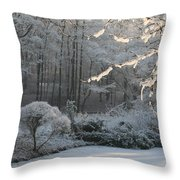 Snowy Trees Landscape Throw Pillow