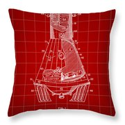 Space Capsule Patent 1959 - Red Throw Pillow