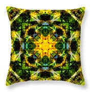 Stained Glass Sun Mandala Throw Pillow