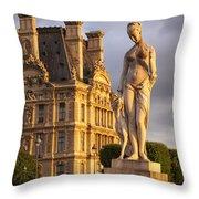 Statue Below Musee Du Louvre Throw Pillow