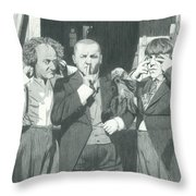 3 Stooges And A Monkey Throw Pillow