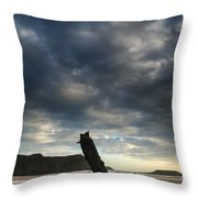 Stunning Shipwreck On Rhosilli Bay Beach Landscape At Sunset Throw Pillow