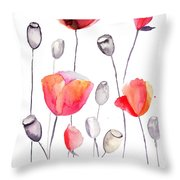 Stylized Poppy Flowers Illustration  Throw Pillow