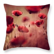 Summer Poppy Throw Pillow by Nailia Schwarz