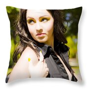 Summer Woman Throw Pillow