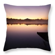 Sunrise In Fog Lake Cassidy With Fishermen In Small Fishing Boat Throw Pillow