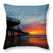Sunset At Pismo Beach Pier Throw Pillow