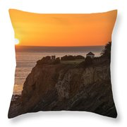 Sunset At Point Vincent Lighthouse Throw Pillow