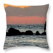 Sunset On The Beach Throw Pillow