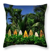 Surf Board Fence Maui Hawaii Throw Pillow by Edward Fielding
