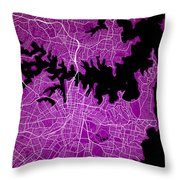 Sydney Street Map - Sydney Australia Road Map Art On Colored Bac Throw Pillow