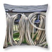 Tall Ship Line Holder Throw Pillow