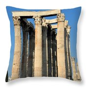Temple Of Olympian Zeus In Athens Throw Pillow