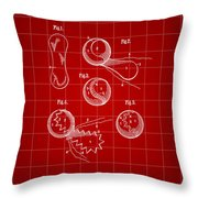 Tennis Ball Patent 1914 - Red Throw Pillow