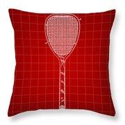 Tennis Racket Patent 1887 - Red Throw Pillow