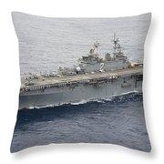 The Amphibious Assault Ship Uss Essex Throw Pillow