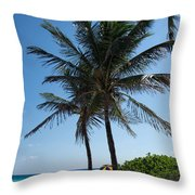 The Beach In Hollywood Florida Throw Pillow