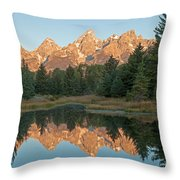 The Grand Tetons Schwabacher Landing Grand Teton National Park Throw Pillow