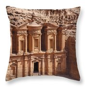 The Monastery At Petra In Jordan Throw Pillow
