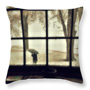 The  October Snow Throw Pillow