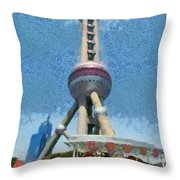 The Oriental Pearl Tower Throw Pillow
