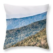 The Simple Layers Of The Smokies At Sunset - Smoky Mountain Nat. Throw Pillow
