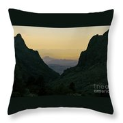 The Window At Sunset In Chisos Mountains Of Big Bend National Park Texas Throw Pillow
