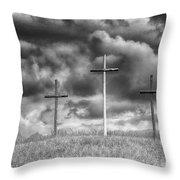 Three Crosses On Hill Throw Pillow